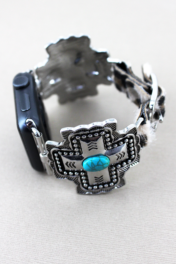 Turquoise Beaded Square Cross and Faux Leopard Adjustable Band for Apple Watch