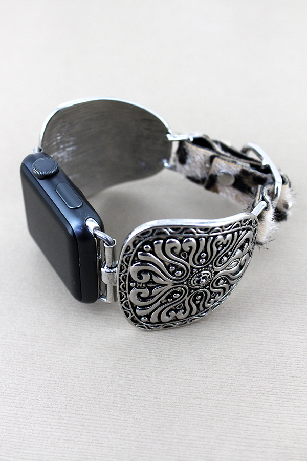 Silvertone Swirl Medallion and Faux Leopard Adjustable Band for Apple Watch