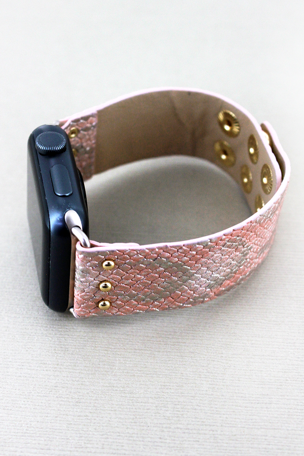 Faux Pink Python Leather Snap Band for Apple Watch