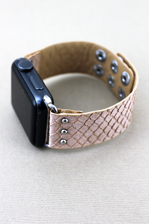 Faux Light Pink Snakeskin Leather Snap Band for Apple Watch