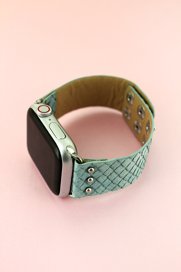 Faux Mint Snakeskin Leather Snap Band for Apple Watch