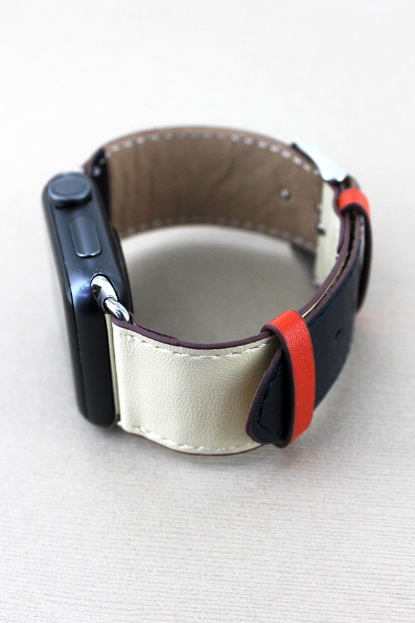 Navy Tri-Color Faux Leather Adjustable Band for Apple Watch