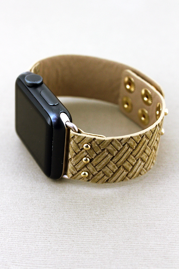Faux Light Brown Basket Weave Leather Snap Band for Apple Watch