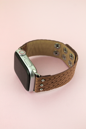 Faux Brown Basket Weave Leather Snap Band for Apple Watch