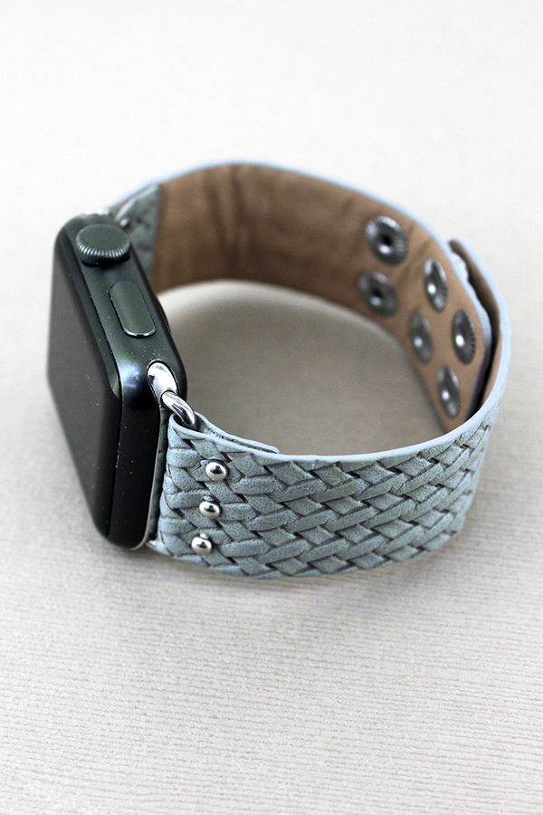 Faux Gray Basket Weave Leather Snap Band for Apple Watch