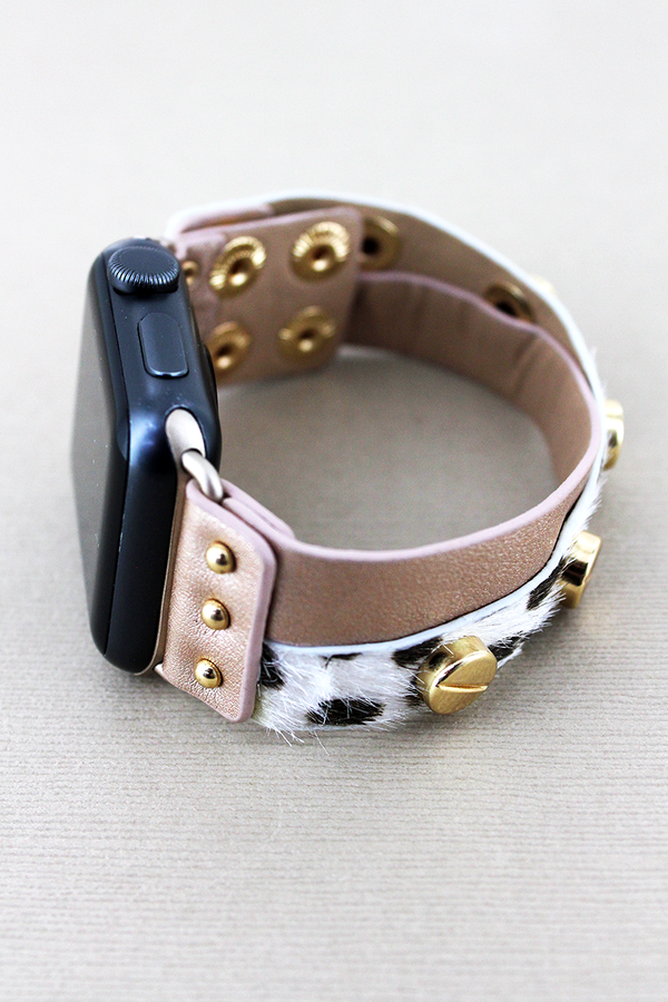 Studded Faux Cheetah and Pink Leather Criss-Cross Snap Band for Apple Watch