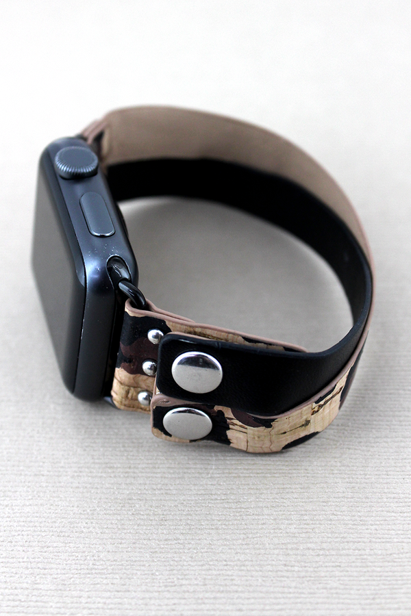 Leopard Cork and Black Leather Criss-Cross Snap Band for Apple Watch