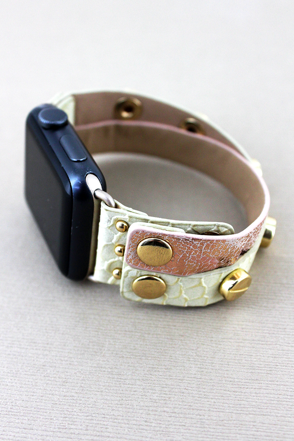 Studded Faux Cream Snakeskin and Metallic Leather Criss-Cross Snap Band for Apple Watch