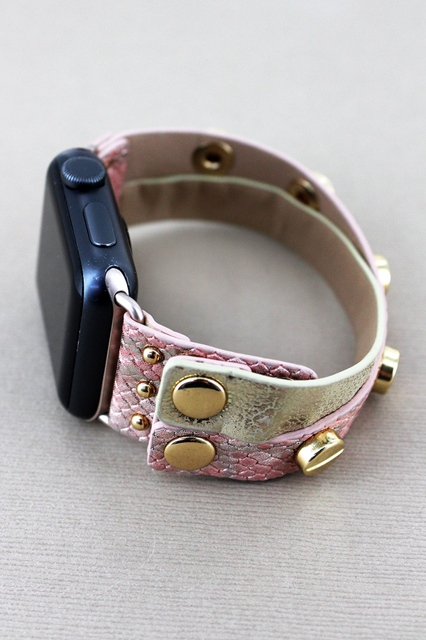 Studded Faux Pink Python and Metallic Leather Criss-Cross Snap Band for Apple Watch