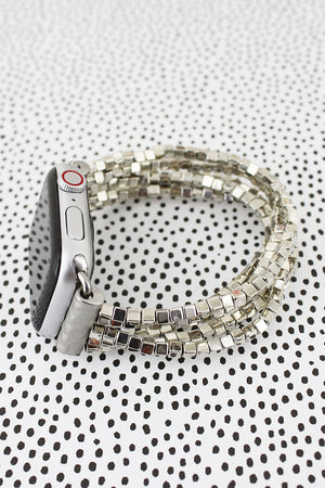 Silvertone Cube Beaded Bracelet Band for Apple Watch