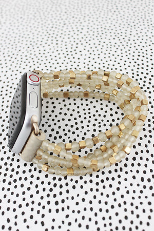 Cream Faceted & Goldtone Cube Beaded Bracelet Band for Apple Watch