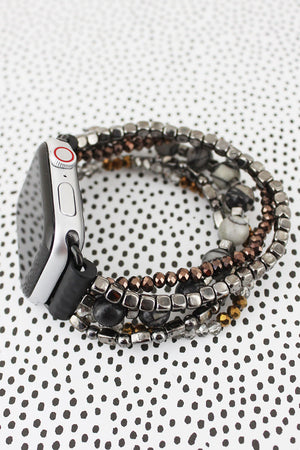 Black Agate and Hematite Beaded Bracelet Band for Apple Watch
