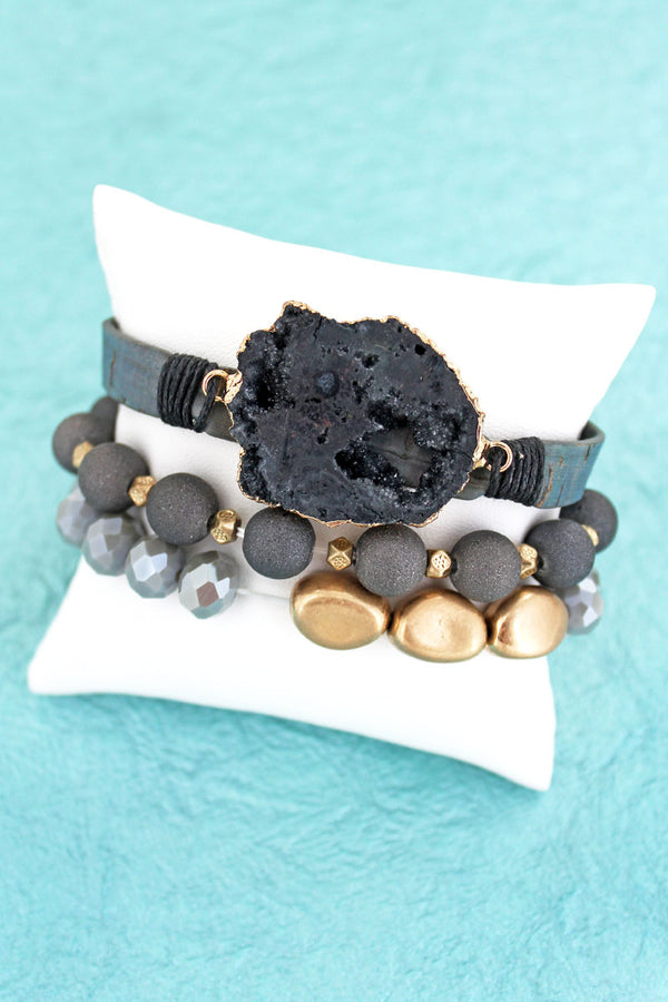 Black Geode Mixed Bead and Cork Bracelet Set