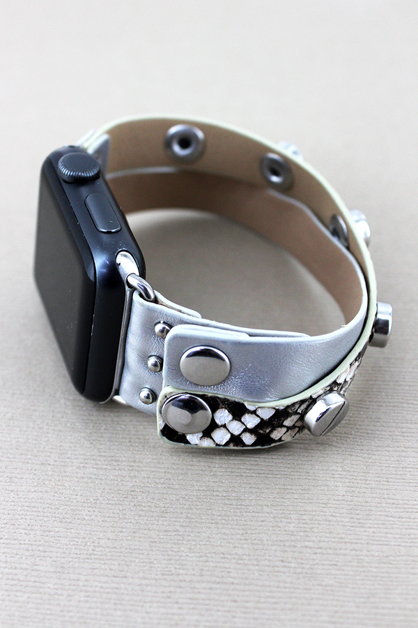 Studded Faux Snakeskin and Silver Leather Criss-Cross Snap Band for Apple Watch