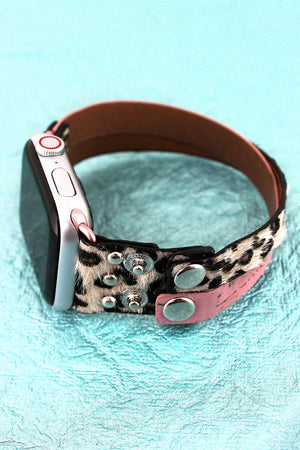 Leopard and Pink Cork Criss-Cross Snap Band for Apple Watch