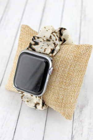 Ivory Snakeskin Fabric Stretch Band for Apple Watch