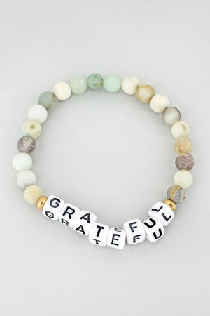 White Block Letter 'Grateful' Amazonite Stone Bracelet