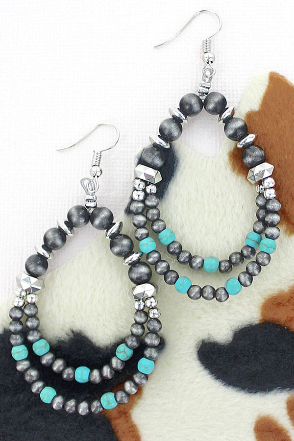 King Creek Falls Turquoise and Silver Pearl Earrings
