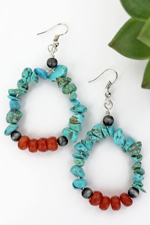Bear Creek Falls Turquoise Stone Earrings