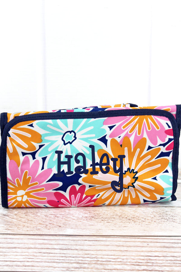 Vibrant Flowers Roll Up Cosmetic Bag