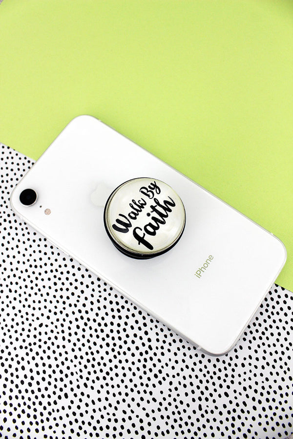 White and Black 'Walk By Faith' Bubble Phone Grip & Stand