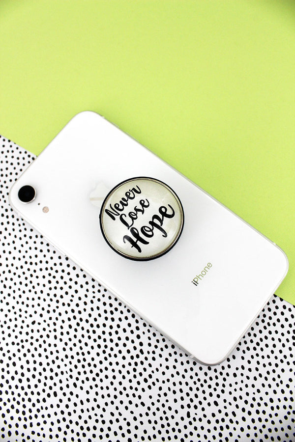 White and Black 'Never Lose Hope' Bubble Phone Grip & Stand