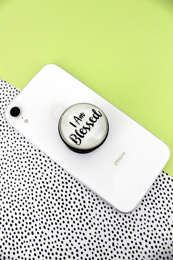 White and Black 'I Am Blessed' Bubble Phone Grip & Stand