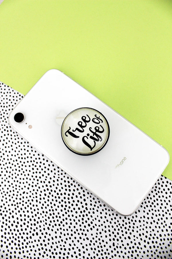 White and Black 'Tree Of Life' Bubble Phone Grip & Stand