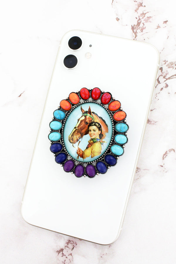 Multi-Color Stone Framed Cowgirl Bubble Phone Grip & Stand