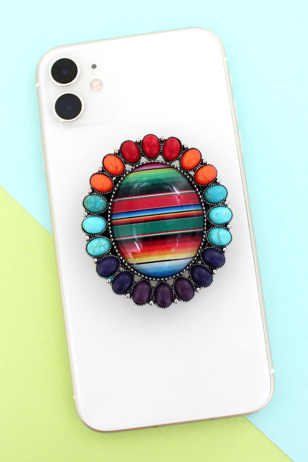 Multi-Color Stone Framed Serape Bubble Phone Grip & Stand