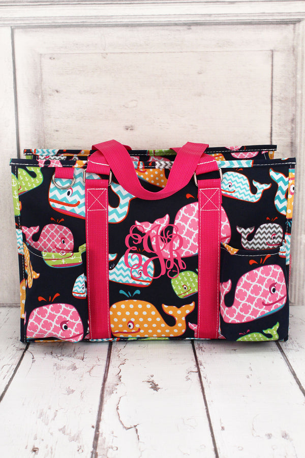 Whimsical Whale Utility Tote with Hot Pink Trim #WHA731-HPINK