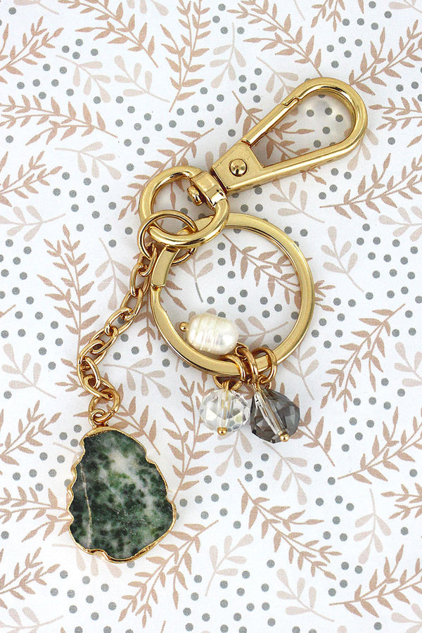 Goldtone Trimmed Green Stone and Bead Charm Keychain