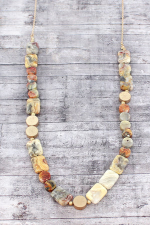 Natural Agate and Worn Goldtone Flat Bead Necklace