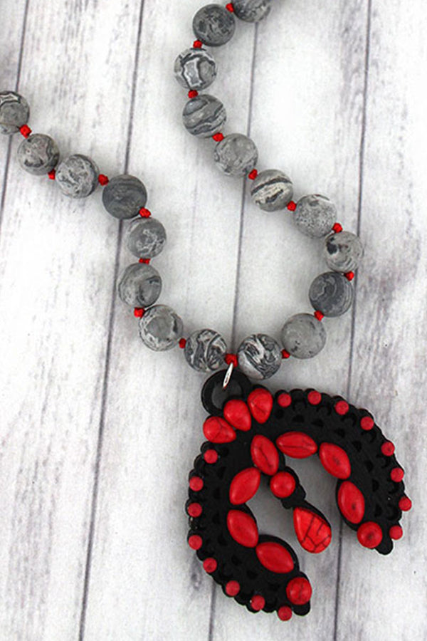Red Beaded Wood Naja Gray Jasper Stone Necklace