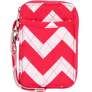 Hot Pink Chevron Quilted Wristlet #ZIH495-HPINK