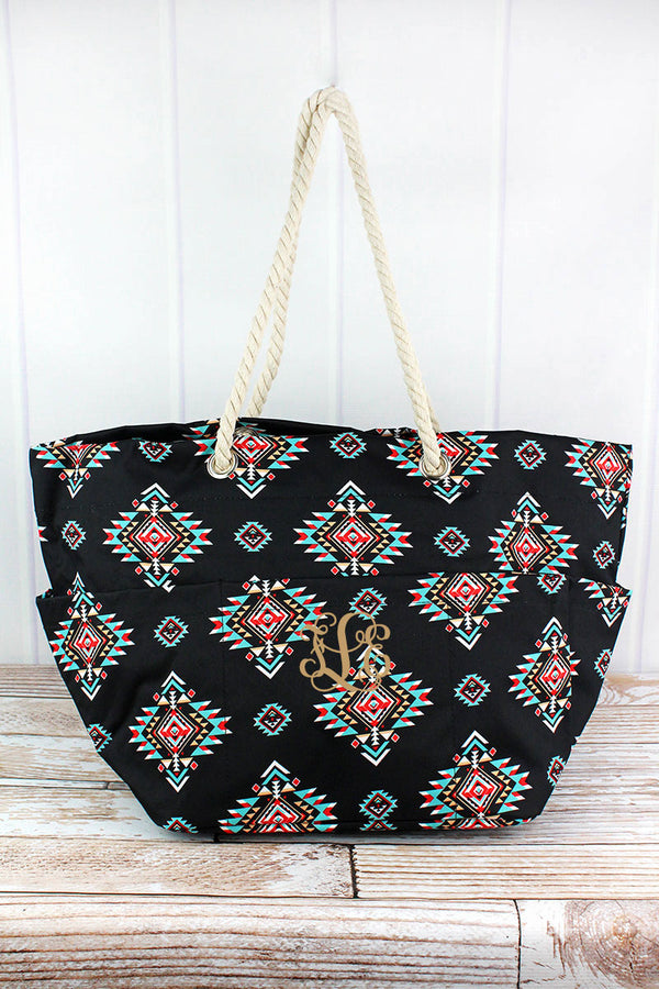 Desert Diamond Rope Handle Beach Tote