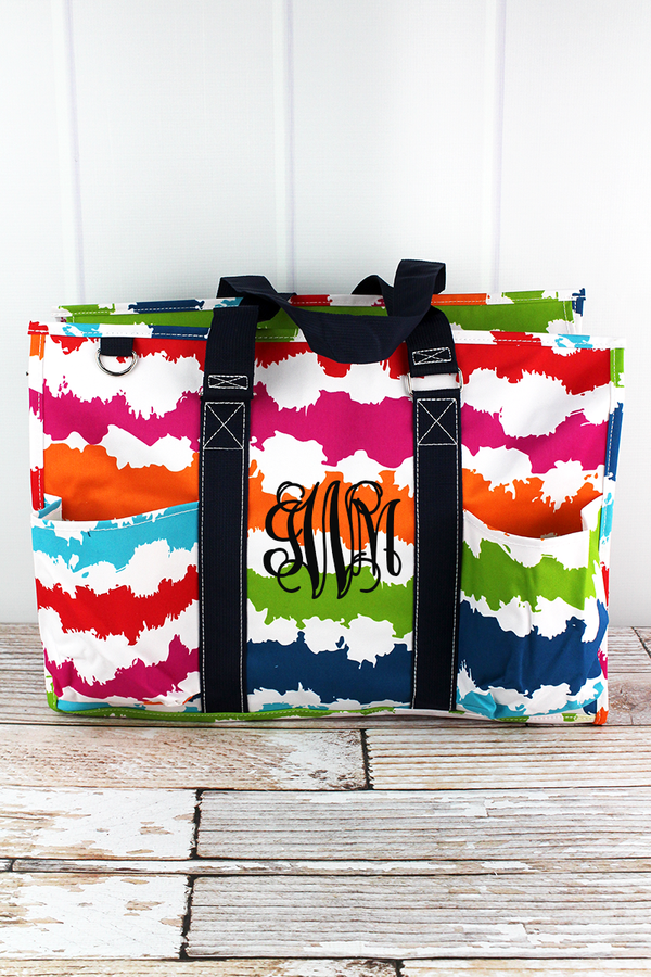 Summer Vibes with Navy Trim Large Organizer Tote