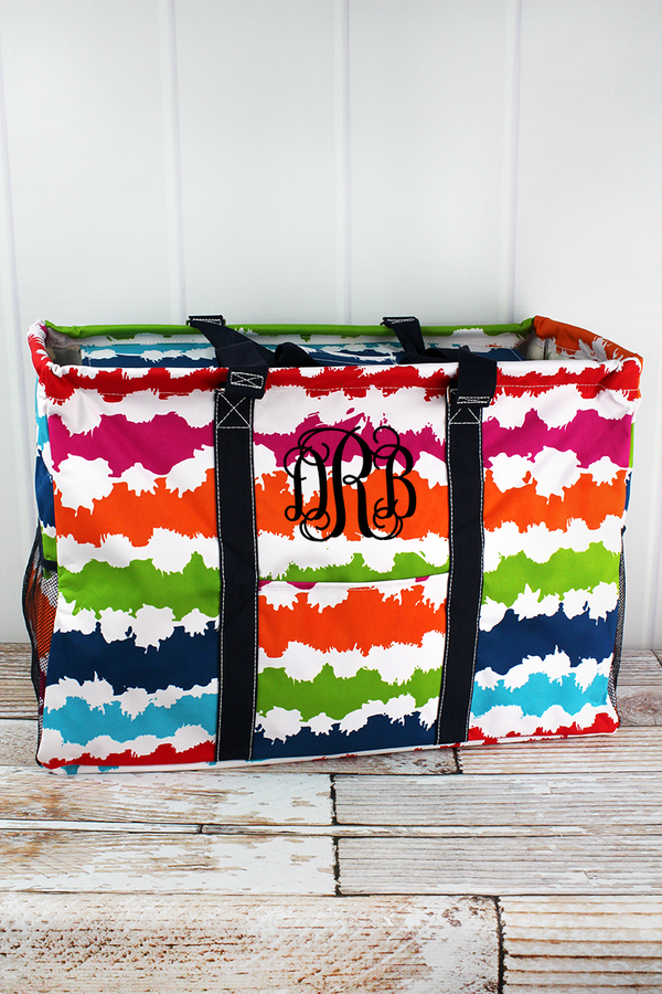 Summer Vibes Collapsible Double Haul-It-All Basket with Mesh Pockets and Lid