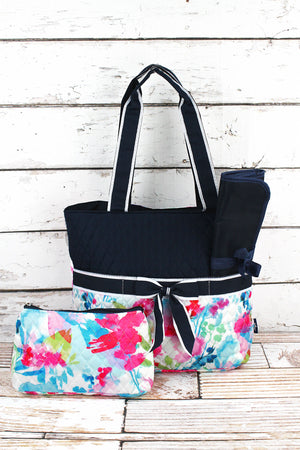Floral Watercolor Quilted Diaper Bag with Navy Trim