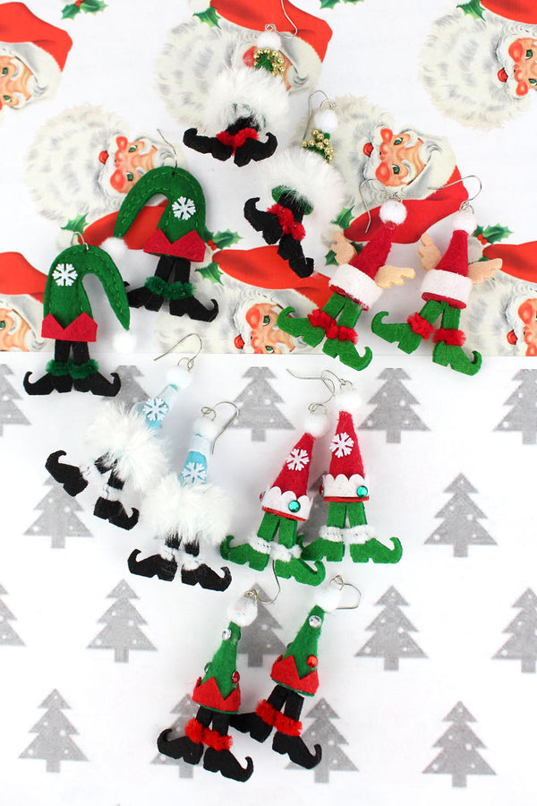 One Pair Holly Jolly Elfin Earrings - SHIPS ASSORTED