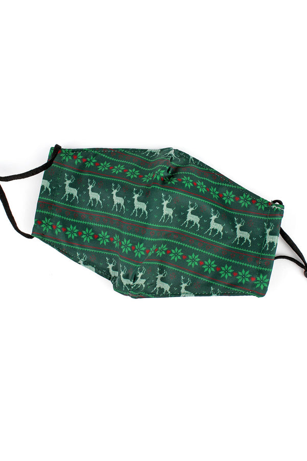 Green Fair Isle Reindeer Two-Layer Fashion Face Mask with Filter Pocket