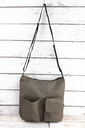 Brown Khaki Crosshatch Multi-Pocket Crossbody Tote