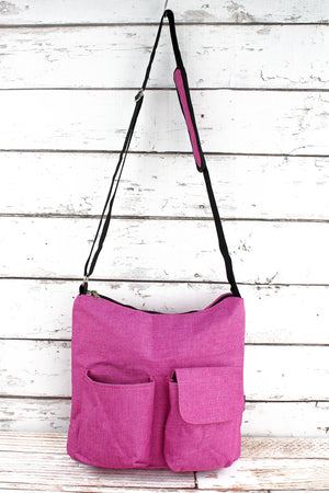 Fuchsia Rose Crosshatch Multi-Pocket Crossbody Tote