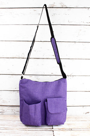 Amethyst Purple Crosshatch Multi-Pocket Crossbody Tote
