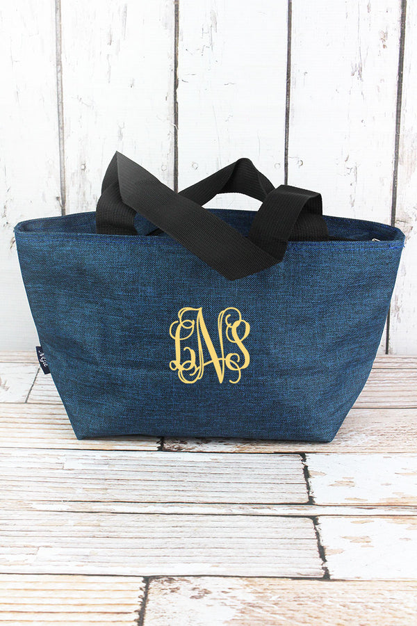 Midnight Navy Crosshatch Insulated Lunch Bag