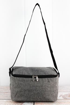 Steel Gray Crosshatch Insulated Shoulder Lunch Bag