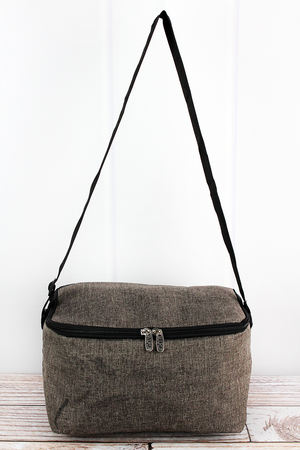 Brown Khaki Crosshatch Insulated Shoulder Lunch Bag
