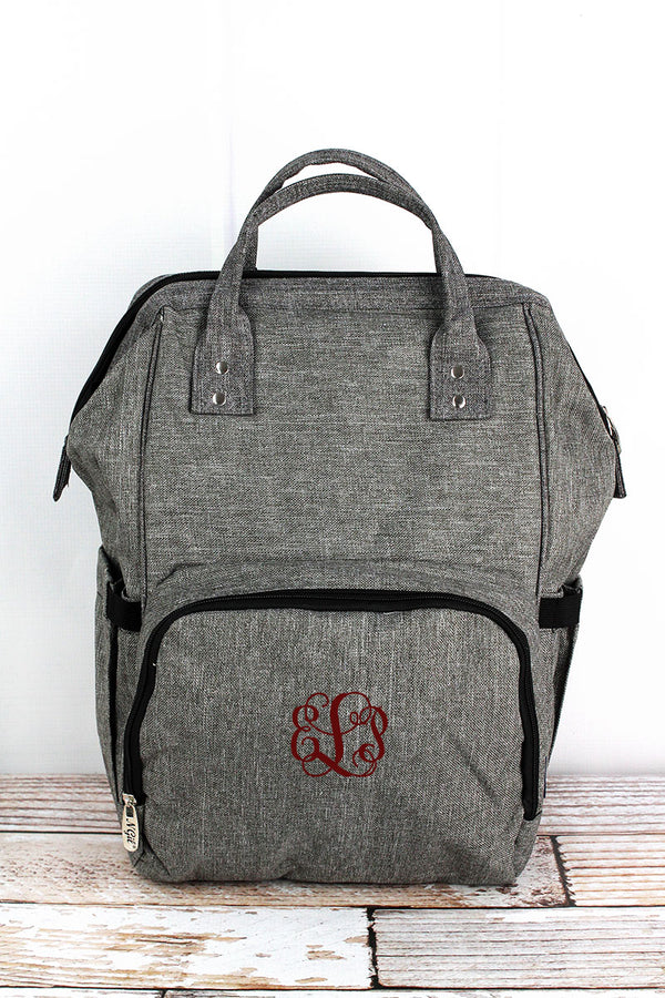 Steel Gray Crosshatch Diaper Bag Backpack
