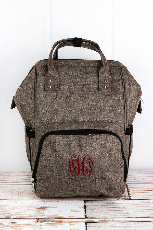 Brown Khaki Crosshatch Diaper Bag Backpack
