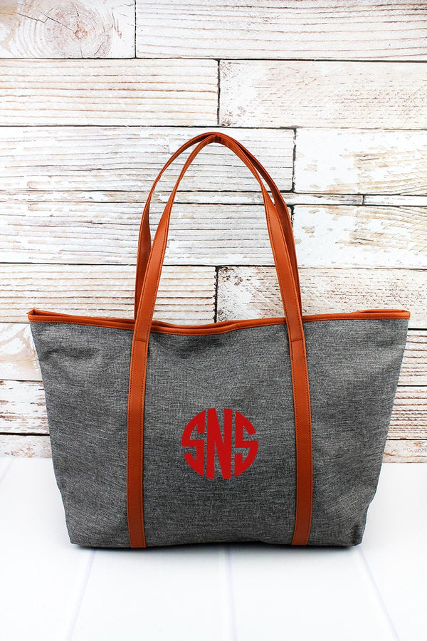 Steel Gray Crosshatch with Burnt Orange Trim Tote